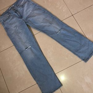 Lightly Distressed Light Wash Bootcut Jeans